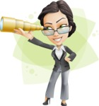 Vector Stylish Office Woman Cartoon Character - Shape8