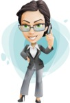 Vector Stylish Office Woman Cartoon Character - Shape9