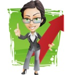 Vector Stylish Office Woman Cartoon Character - Shape11