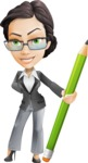 Vector Stylish Office Woman Cartoon Character - Pencil