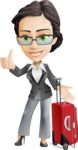 Vector Stylish Office Woman Cartoon Character - Travel1