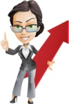 Vector Stylish Office Woman Cartoon Character - Pointer1