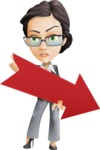 Vector Stylish Office Woman Cartoon Character - Pointer3