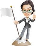 Vector Stylish Office Woman Cartoon Character - On Top