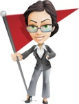 Vector Stylish Office Woman Cartoon Character - Checkpoint