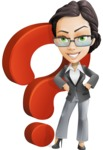 Vector Stylish Office Woman Cartoon Character - Question