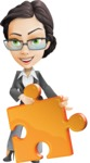 Vector Stylish Office Woman Cartoon Character - Puzzle
