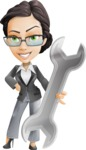 Vector Stylish Office Woman Cartoon Character - Repair