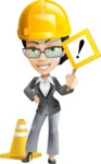 Vector Stylish Office Woman Cartoon Character - Under Construction1