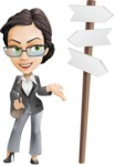 Vector Stylish Office Woman Cartoon Character - Crossroad
