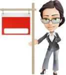 Vector Stylish Office Woman Cartoon Character - Sign9
