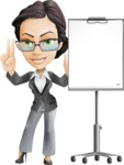 Vector Stylish Office Woman Cartoon Character - Presentation1