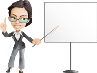 Vector Stylish Office Woman Cartoon Character - Presentation2