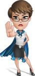 Business Woman Superhero Cartoon Vector Character AKA Madame Supernova - Stop