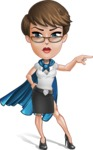 Business Woman Superhero Cartoon Vector Character AKA Madame Supernova - Point