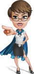 Business Woman Superhero Cartoon Vector Character AKA Madame Supernova - Point 3