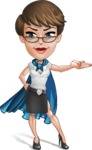 Business Woman Superhero Cartoon Vector Character AKA Madame Supernova - Show 1