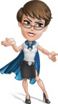 Business Woman Superhero Cartoon Vector Character AKA Madame Supernova - Show 4