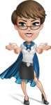 Business Woman Superhero Cartoon Vector Character AKA Madame Supernova - Show 6