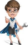 Business Woman Superhero Cartoon Vector Character AKA Madame Supernova - Repair
