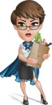 Business Woman Superhero Cartoon Vector Character AKA Madame Supernova - Food Stuff