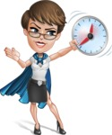 Business Woman Superhero Cartoon Vector Character AKA Madame Supernova - Time is Yours