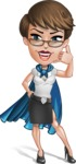 Business Woman Superhero Cartoon Vector Character AKA Madame Supernova - Support