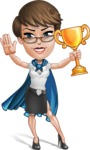 Business Woman Superhero Cartoon Vector Character AKA Madame Supernova - Winner
