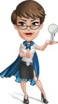 Business Woman Superhero Cartoon Vector Character AKA Madame Supernova - Key