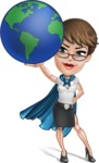 Business Woman Superhero Cartoon Vector Character AKA Madame Supernova - Earth