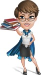 Business Woman Superhero Cartoon Vector Character AKA Madame Supernova - Books 2