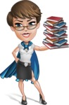 Business Woman Superhero Cartoon Vector Character AKA Madame Supernova - Books 3