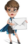 Business Woman Superhero Cartoon Vector Character AKA Madame Supernova - Letter