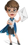 Business Woman Superhero Cartoon Vector Character AKA Madame Supernova - Letter 2