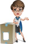 Business Woman Superhero Cartoon Vector Character AKA Madame Supernova - Delivery