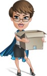 Business Woman Superhero Cartoon Vector Character AKA Madame Supernova - Delivery 2