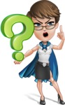 Business Woman Superhero Cartoon Vector Character AKA Madame Supernova - Question