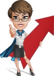 Business Woman Superhero Cartoon Vector Character AKA Madame Supernova - Arrow
