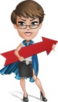 Business Woman Superhero Cartoon Vector Character AKA Madame Supernova - Arrow 2