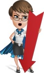 Business Woman Superhero Cartoon Vector Character AKA Madame Supernova - Arrow 3