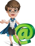 Business Woman Superhero Cartoon Vector Character AKA Madame Supernova - Email