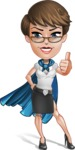 Business Woman Superhero Cartoon Vector Character AKA Madame Supernova - Thumbs Up