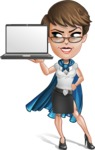Business Woman Superhero Cartoon Vector Character AKA Madame Supernova - Notebook