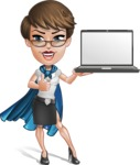 Business Woman Superhero Cartoon Vector Character AKA Madame Supernova - Notebook 2