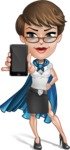 Business Woman Superhero Cartoon Vector Character AKA Madame Supernova - Mobile Phone