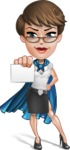 Business Woman Superhero Cartoon Vector Character AKA Madame Supernova - Presentation