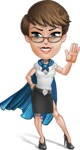 Business Woman Superhero Cartoon Vector Character AKA Madame Supernova - GoodBye