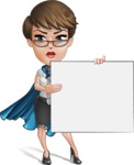 Business Woman Superhero Cartoon Vector Character AKA Madame Supernova - Presentation 3