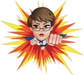 Business Woman Superhero Cartoon Vector Character AKA Madame Supernova - Shape 3