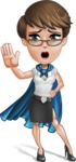 Business Woman Superhero Cartoon Vector Character AKA Madame Supernova - Hello